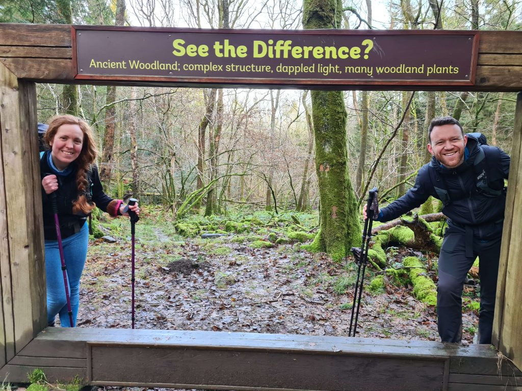 Katie and James learning about woodland flora and fauna