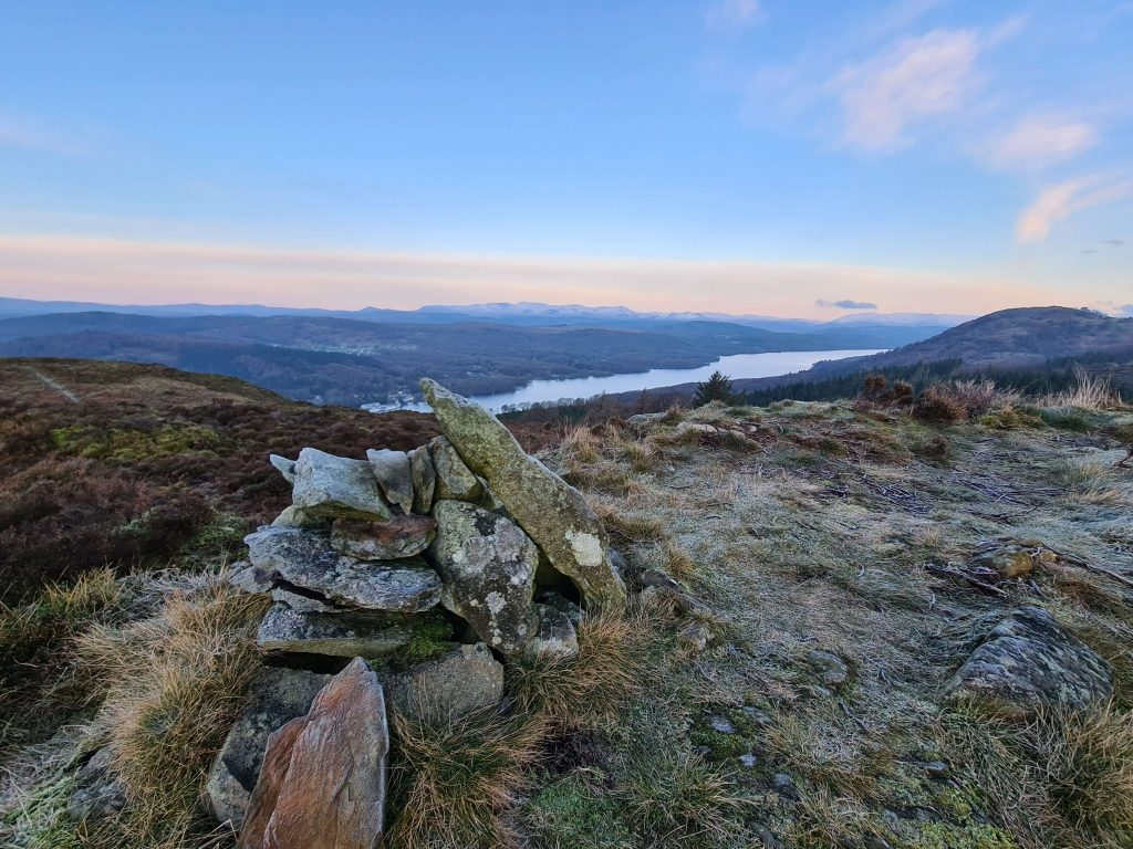 Summit of Staveley Fell looking over Windermere