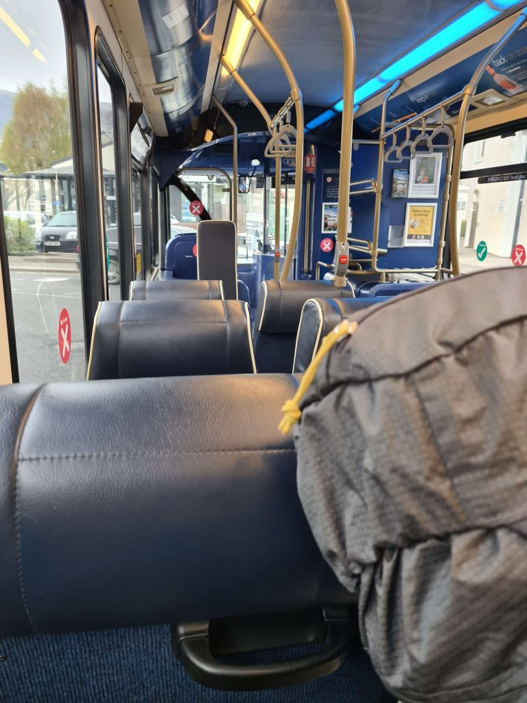Nic travels on a near-empty X5 bus on her Walking The Wainwrights project
