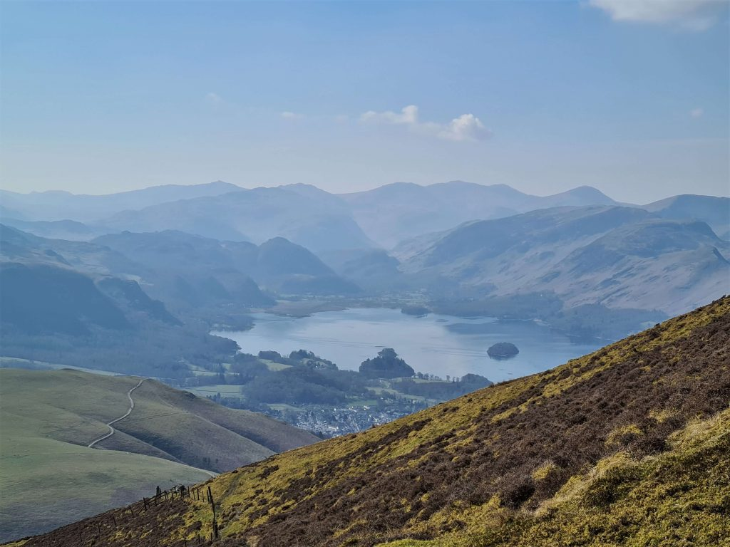 View of Derwent Water from the ascent of Lonscale Fell whilst Walking the Wainwrights
