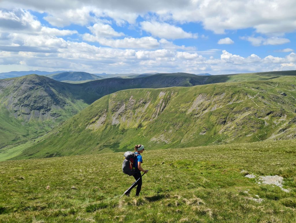 Adventurer Nic hiking on the Kentmere Horseshoe on the Far Eastern Walking the Wainwrights route