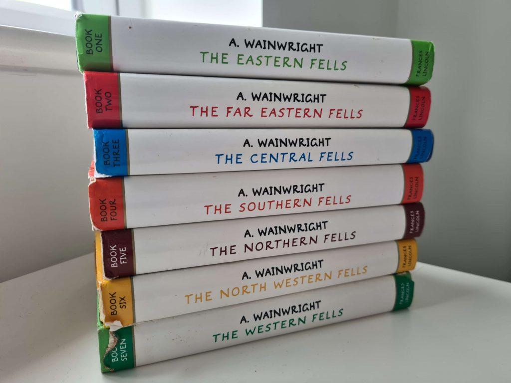 Stack of Alfred Wainwright Guidebooks